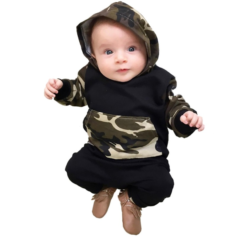 2pcs!! Spring Autumn Baby Clothing Sets Boys Camouflage Camo Hoodie Tops Long Pants Outfits Set