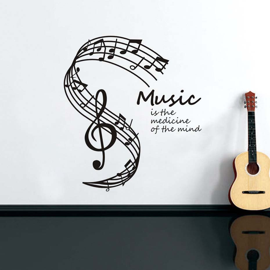 Music Is The Medicine Of The Mind Vinyl Wall Stickers