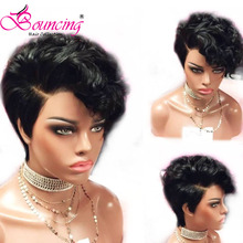 Bouncing Hair Lace Front Remy Human Hair Wigs Natural Color Short Pixie Cut Wig 150 Density wig Side Part For Women cute fluffy short boy cut human hair side bang wig for women