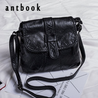 ANTBOOK Vintage Pu Leather Women Designer Handbags High Quality Messenger Bags Solid Black Large Capacity Women