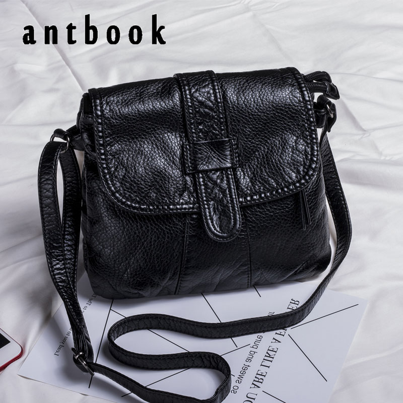 ANTBOOK Vintage Pu Leather Women Designer Handbags High Quality Messenger Bags Solid Black Large Capacity Women Shoulder Bag fido dido designer handbags high quality nylon women shoulder bags large capacity women messenger crossbody bags