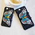 Mariposa bordado cubierta para iphone 7 6 6 s case duro del brillo de lujo casos de teléfono para iphone 6 6 s 7 plus mujeres bolsa fundas coque