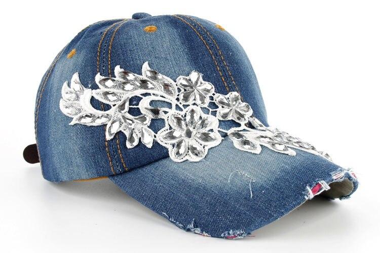 Высокое качество оптом и в розницу JoyMay шляпа Кепки Мода Досуг Стразы х/б джинсы колпачки в цветочном стиле летние Бейсбол Кепки B232 - Цвет: Color no 3
