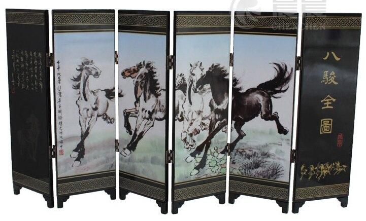 (mini) Exquisite Chinesische Klassische Lack Malerei Dekorative Acht Pferde Paravent Senility VerzöGern