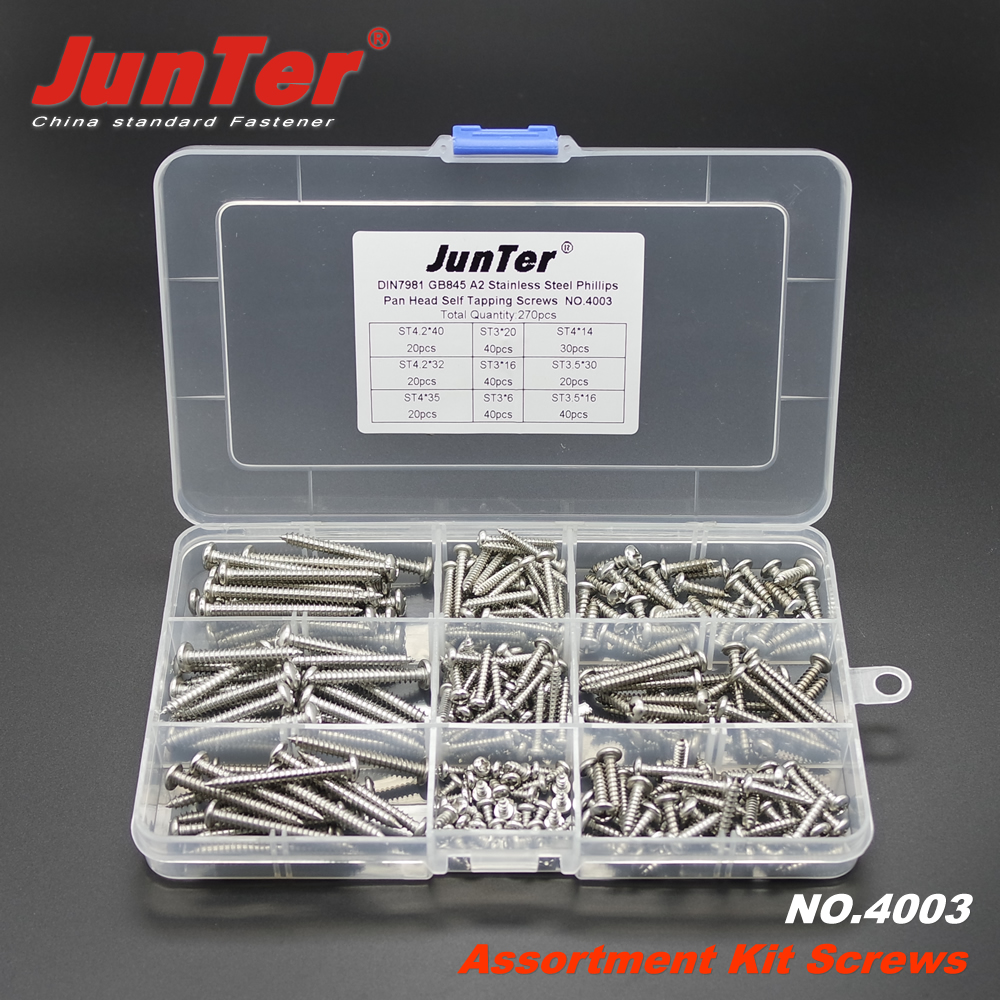 270pcs DIN7981 A2 Stainless Steel Phillips Pan Head Self Tapping Screws Assortment Kit NO.4003 stainless steel sems screws m3x8 pan head 1 phillips driver polished rohs