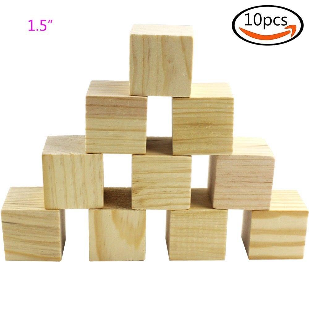 Cewor 10 unids 1 5 cubos de bloques cuadrados de madera - Cubos de madera ...