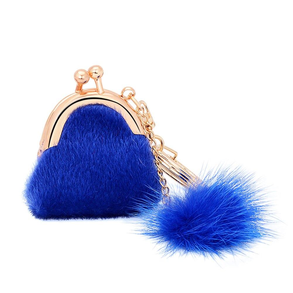 1PC Cute Soft Faux Rabbit Fur Plush Ball Keychain Mini Fur Handbag Car Keyring Key Chain Pendant Gifts