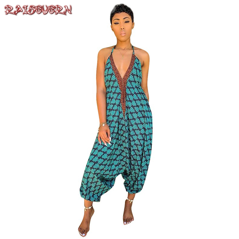 RAISEVERN Vintage Boho Jumpsuit For Women 2019 Strap Print Rompers Women Jumpsuit Summer Wide Leg Pants Mono Mujer