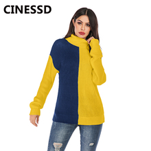 CINESSD Women Turtleneck Knitted Sweaters Blue&Yellow Long Sleeves Striped Patchwork Casual Pullover 2019 Autumn Winter Sweater