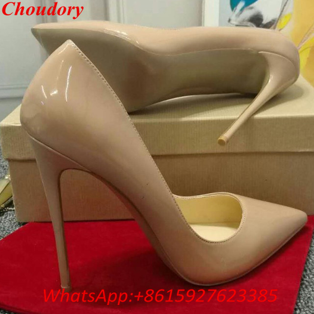 Choudory Ladies Designer Shoes Women So Nice Kate 12cm Patent Leather Black  Nude Heels Pigalle Fashion ea7103f20963