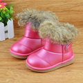 Toddler Girls boots 2016 leather Waterproof soft bottom children boots Rabbit Fur Ankle Snow Boots Warm Plush Winter Kids Shoes