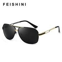 FEISHINI оригинальный бренд дизайн драйвер человек солнцезащитных очков Винтаж УФ Защита элегантный металлический щит солнцезащитные