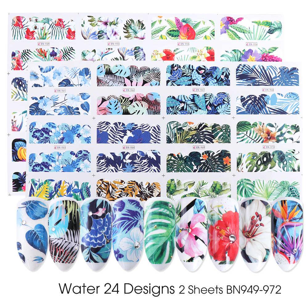 24pcs Watercolor Floral Flower Sticker Nail Decal Set Flamingo Letter Design Gel Manicure Decor Water Slider Foil CHSTZ683-706-1