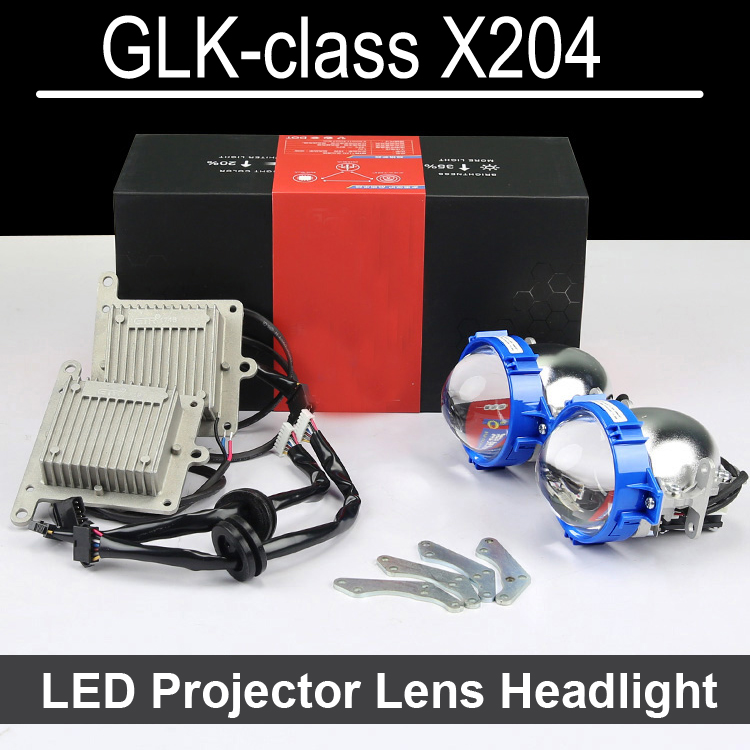 Bi-xenon car LED Projector lens Assembly For Mercedes Benz GLK class with halogen headlight ONLY Retrofit Upgrade (2009-2015) 2x t10 led w5w car led auto lamp 12v clearance parking light bulbs with projector lens for mercedes benz w203 glk r ml w204 c e