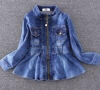 3 7 years baby jacket Long sleeves denim shrink waist round neck BP533