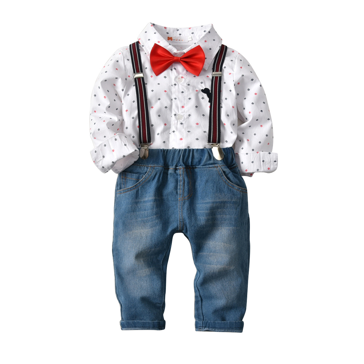 Wedding Boys Clothes Set Shirt Removable Suspender Jeans Bow Tie Gentleman Children Suit Long Sleeve Toddler Boys Clothing Set стоимость