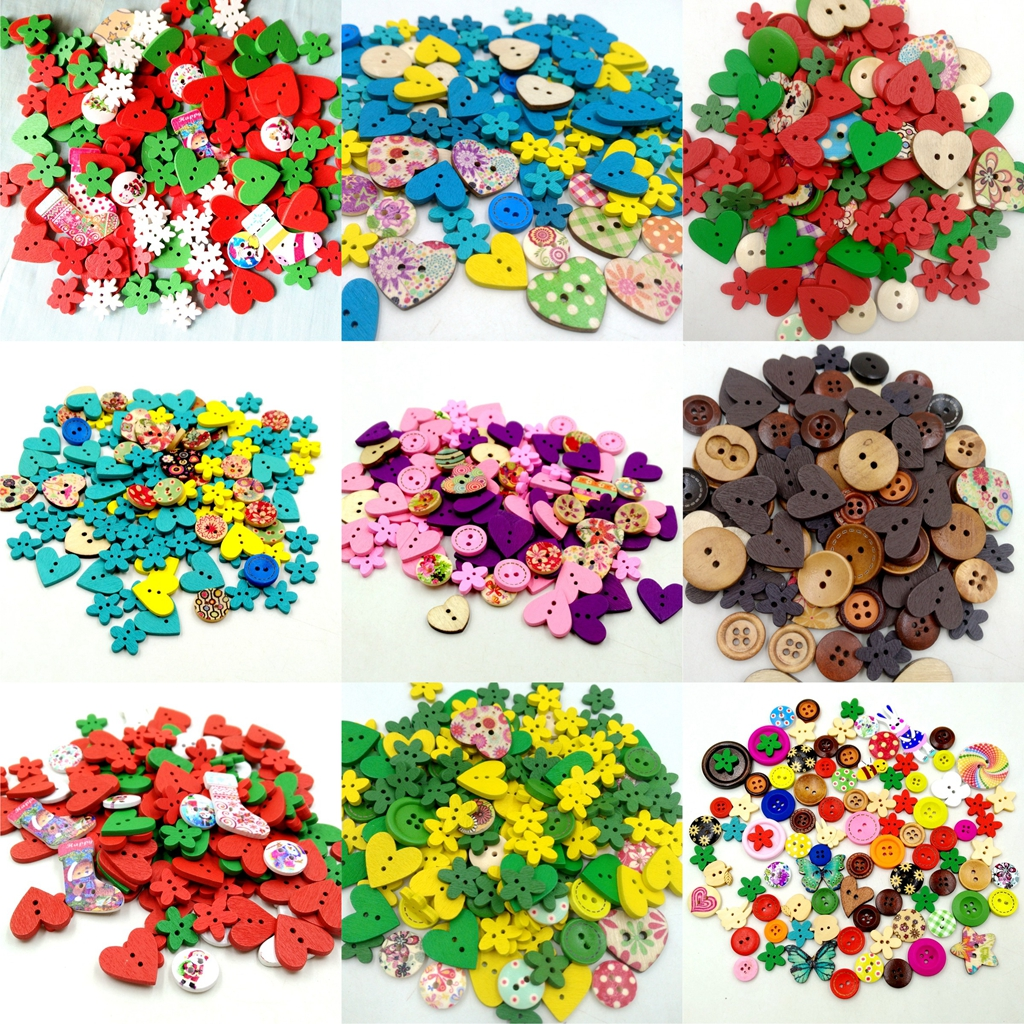 100pcs Flower Shape Wooden Buttons 2 Hole For DIY Clothing Sewing Craft Supplies