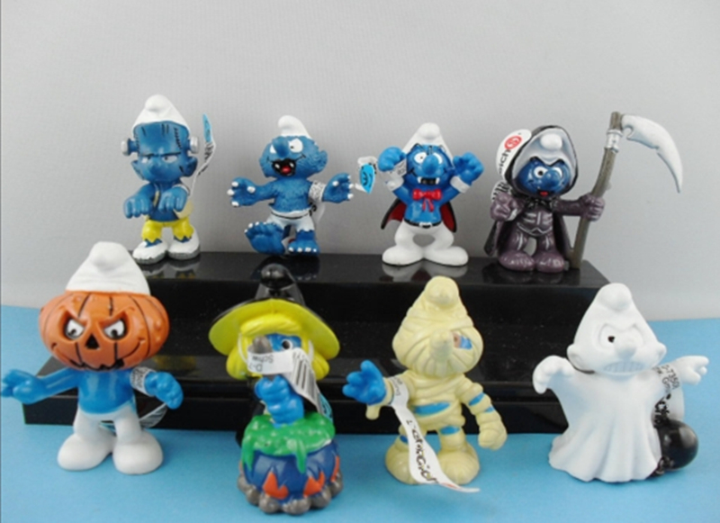 8pcs/Set The Lost Village Figures The Elves Papa Smurfette Clumsy PVC Action Collectible Model Toys Birthday Christmas Gifts