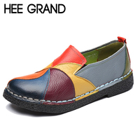 HEE GRAND 2018 New Spring Colorful Flats Women Flower Style Oxfords Genuine Leather With Soft Buttom