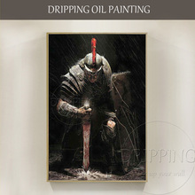 Top Artist Handmade High Quality Impressionist Soldier Oil Painting on Canvas Holding Sword and Shield