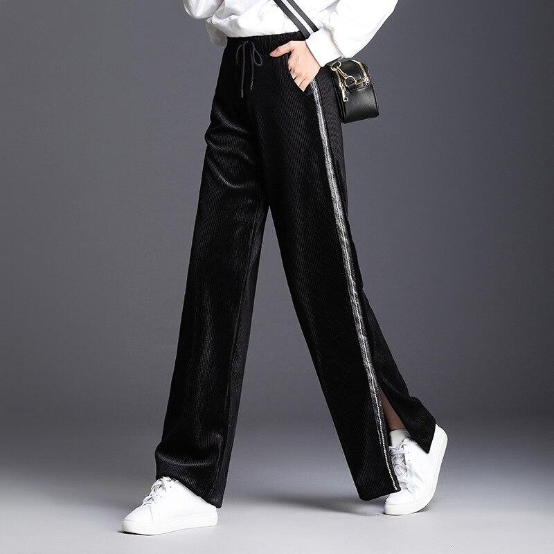 Otoño Elástica La 2018 Largos Casuales Black Pantalones De Alta Moda Cintura Ancho Mujer Negro Pierna Invierno Las Dividir Mujeres rnxrq6SO