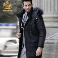 2017 SHENOWA  Fashion men's down jacket Winter men new coat Raccoon Fur Collar Black casual down jacket Men parke