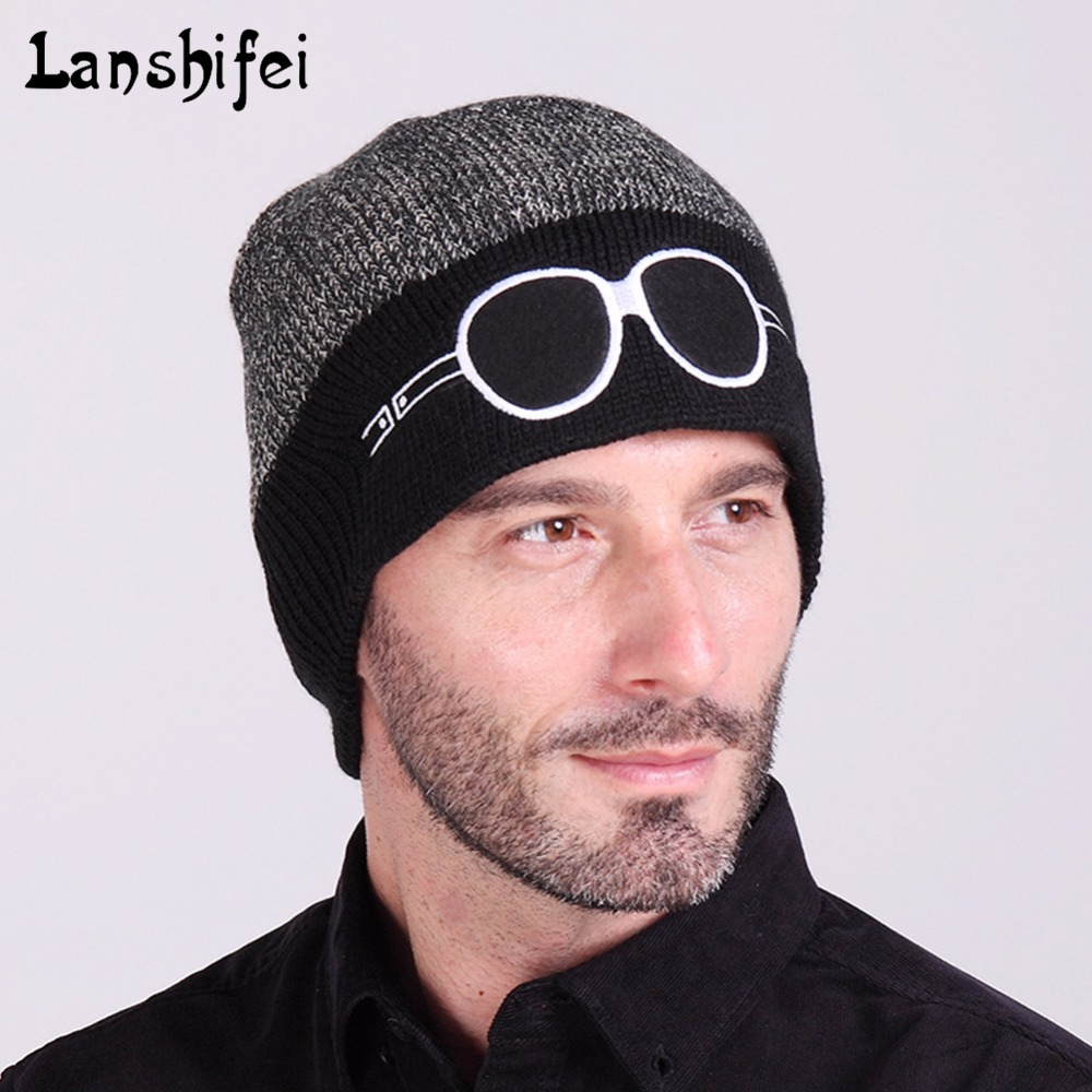 Hot Sale Unisex Wool Knitting Hat Cartoon Embroidered Two-tone Eyeglasses Winter   Skullies     Beanie   Warm Hat Headgear Drop Shipping