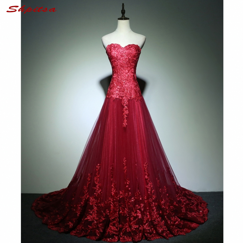 Red Long Lace Prom Dresses for Graduation Sweetheart A Line Tulle ...