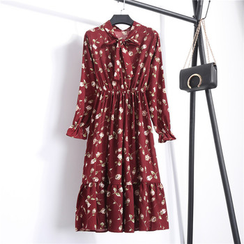 Summer Autumn Chiffon Print Dress Casual Cute Women floral Long Bowknot Dresses 3