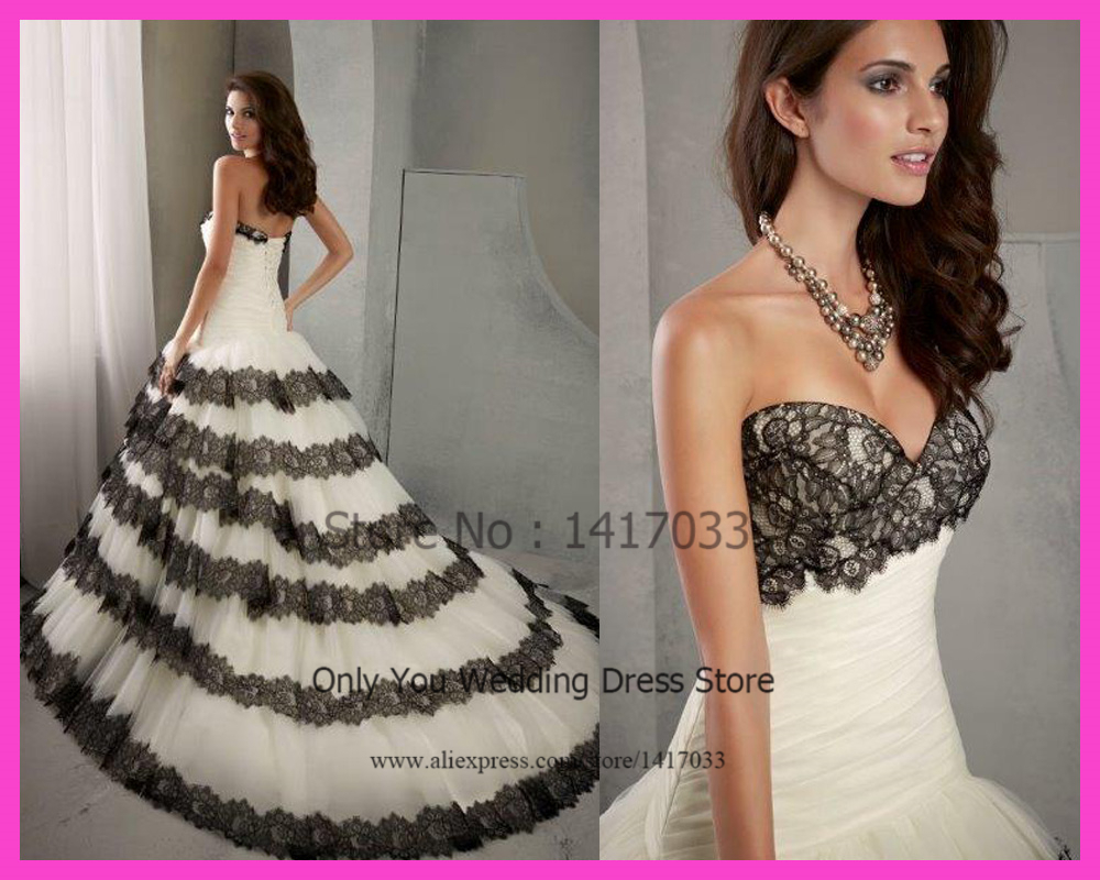 2015 Dreamy Sweetheart Black And White Wedding Dress Ball