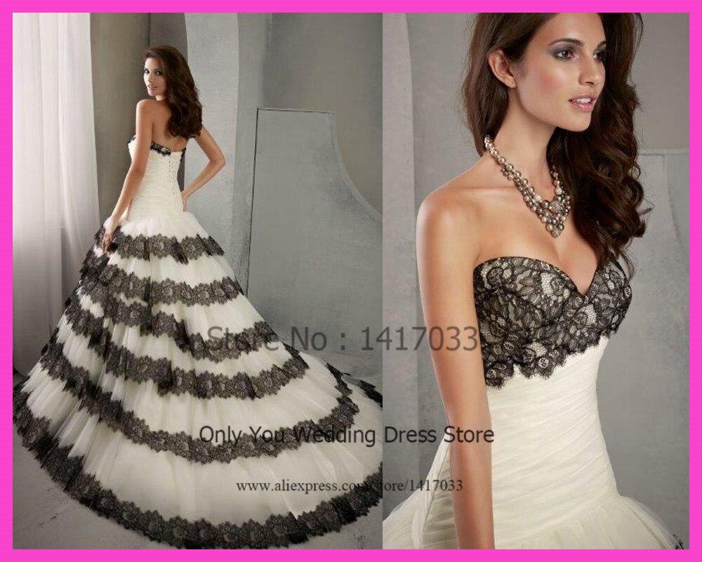 2015 Dreamy Sweetheart Black And White Wedding Dress Ball