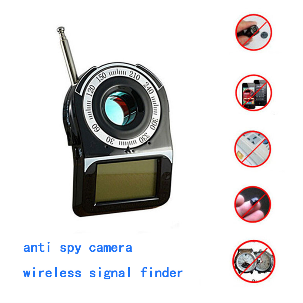 1 PCS Active Laser Scanning Signal Detector GSM G3 G4 SMS RF Detector For Anti Candid Camera Eavesdrop Monitor Alarm LCD Display 1 pcs full range multi function detectable rf lens detector wireless camera gps spy bug rf signal gsm device finder
