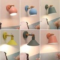 New Nordic lâmpada de parede lâmpada de Cabeceira Quarto sala de estar Moderna passarela Escada Simples pura madeira de ferro forjado lâmpada de parede de LED lâmpada|Luminárias de parede| |  -