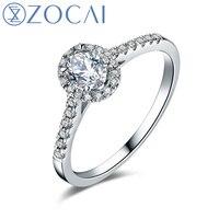 ZOCAI обручальное кольцо 0.50 ct настоящий овальной огранки кластера Установка 18 К белого золота обручальное кольцо, кольцо с бриллиантом W05581