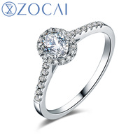 ZOCAI Wedding Ring 0.50 ct real oval cut diamond Cluster setting 18K white gold engagement ring diamond ring W05581