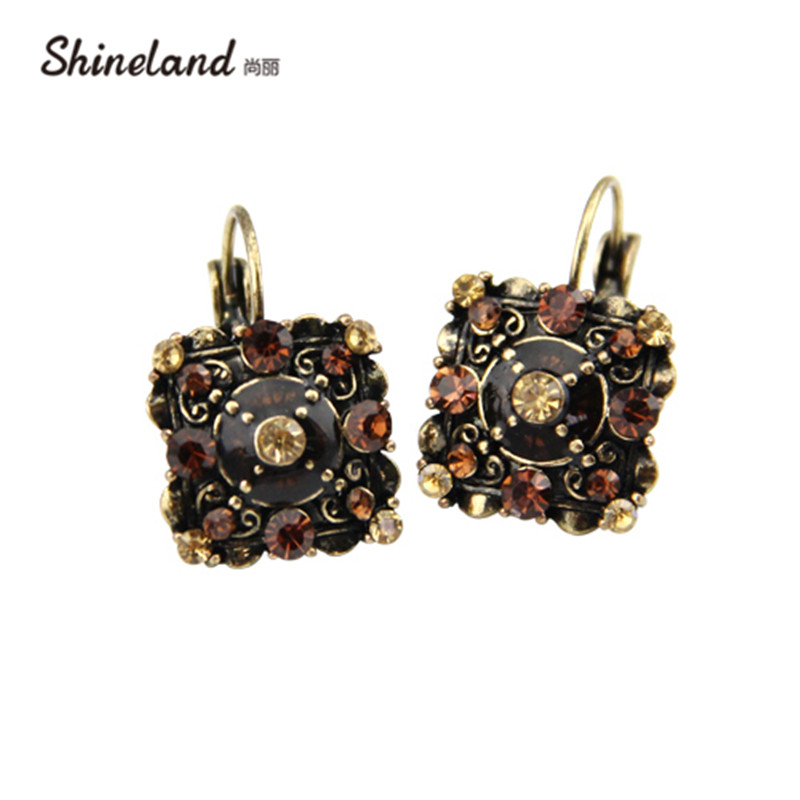 Shineland 2018 New Fashion Women Accessories Vintage Square-shaped Crystal Rhinestones Statement Clip Earrings Jewelry D32887