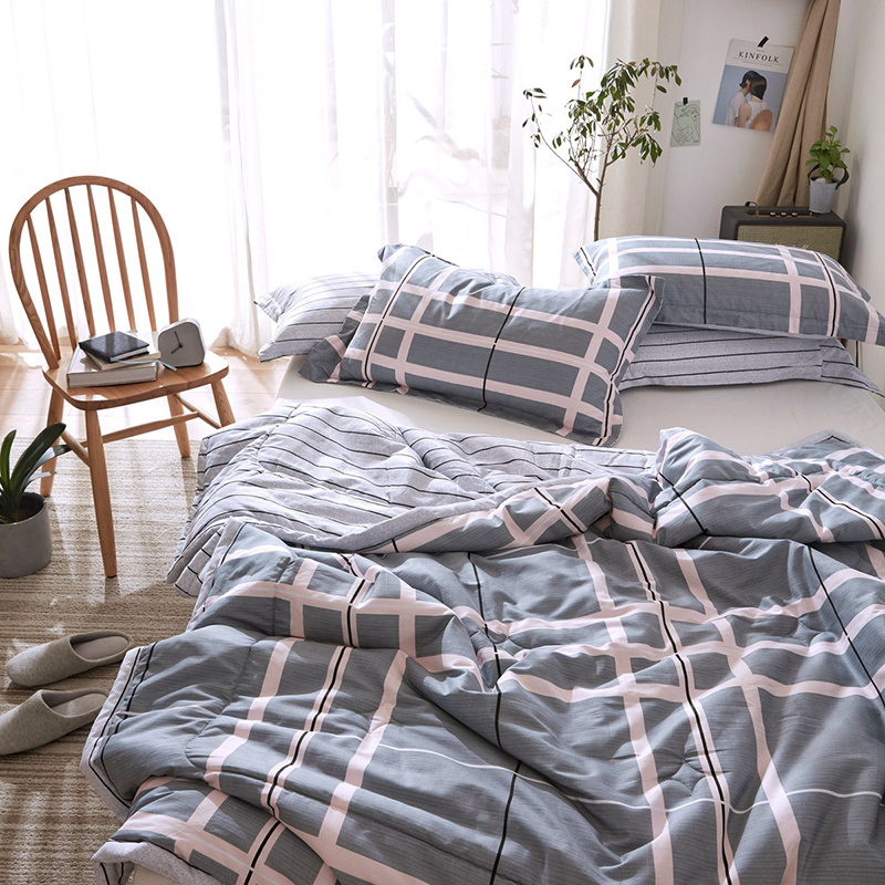 Plaid Printed Comforter Sets Spring Summer Cotton Bed Linens Quilt Pillowcase Twin Full Queen Size Kids Adult Bedding Sets in Bedding Sets from Home Garden