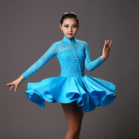 new professional red/blue/white perspective lace dress for children's Latin/rumba/samba/salsa Dance performance/practice