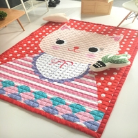 Red Color Doormat Sofa Polyester Big Face Cat Print Cartoon Children S Play Mat Rectangle Shape