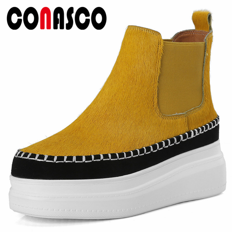 цена CONASCO New Women Retro Horsehair Wedges High Heels Martin Shoes Woman Round Toe Ankle Boots Female Basic Boots Causual Shoes