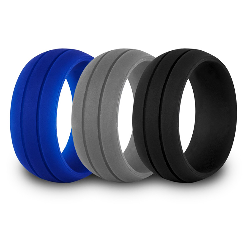 3PCS Silicone Ring Band Hypoallergenic Rubber Wedding Outdoor Party 6-12 Size