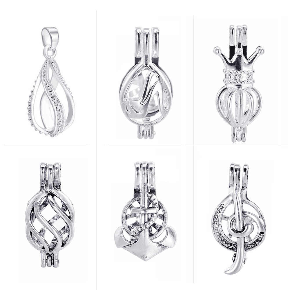 1pc Vintage Silver Plated Hollow Peal Spiral Cage Filigree DIY Essential Oil Aromatherapy Diffuser Necklace Locket Pendants