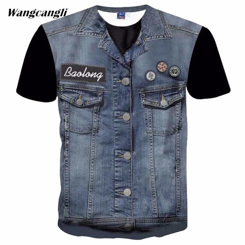 Wangcangli high elastic jeans skiny T-shirt print fitness fashion T-shirt 3D Fake Jeans O-neck short sleeve T-shirt size 5XL