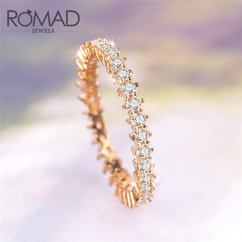 ROMAD Silver Color Cubic Zirconia CZ Stackable Eternity Ring Trendy Jewelry For Women Best Gift Hot Finger Ring R4