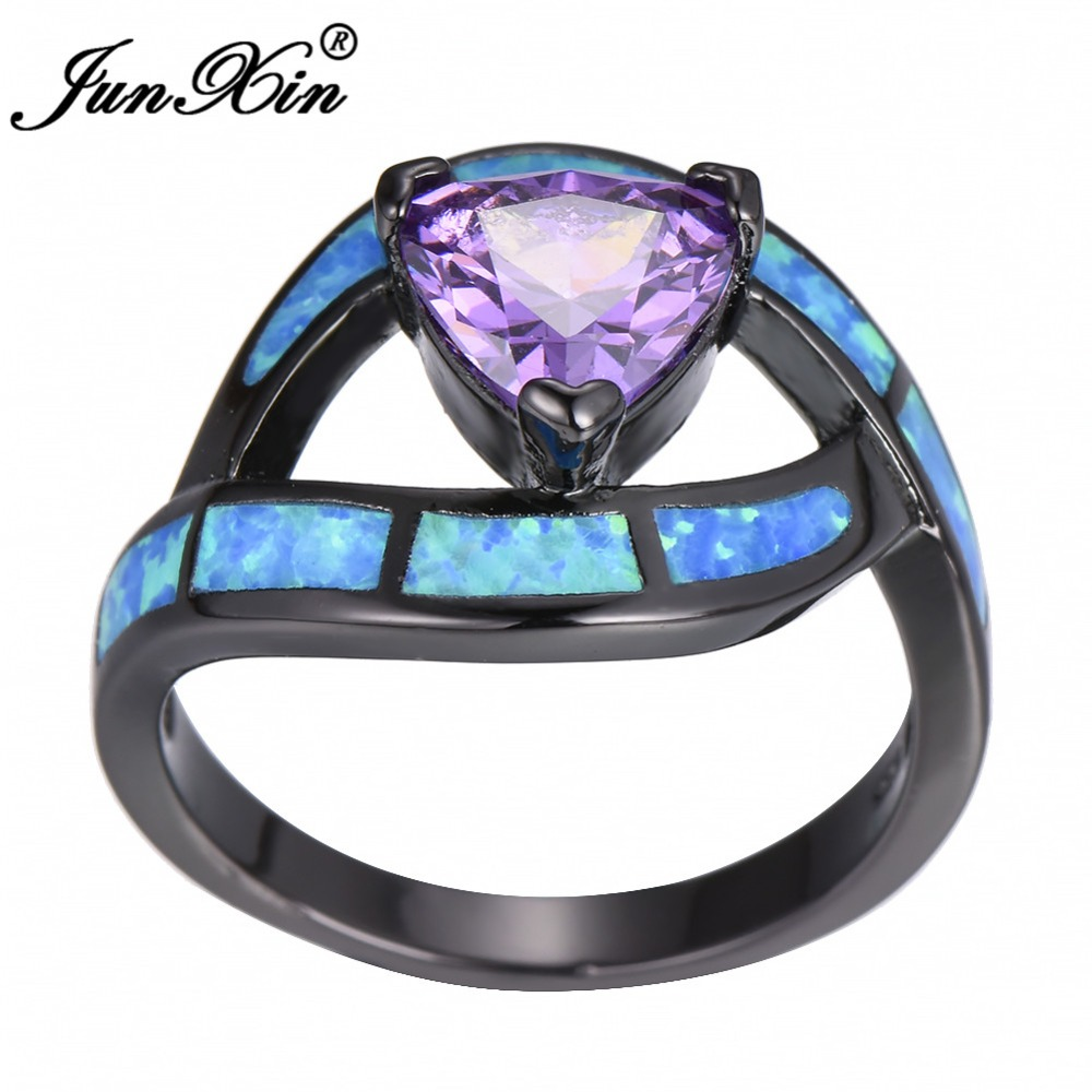 JUNXIN Luxuey Blue Fire Opal Finger Ring Triangle Zircon Stone Ring Black Gold Filled Wedding Rings For Women Vintage Jewelry