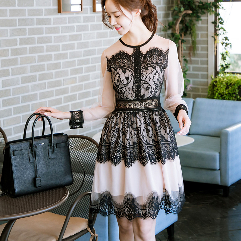 2019 new girls dresses long sleeve stitching lace dress teenage  clothes dress for 13-20 years girl