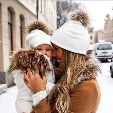 Mommy and Baby Hat Winter Warm Women Kids Cotton Hat Caps Mink Fur Ball Pompom Bobble Hat Mom and Me Matching Beanie Hats Karachi
