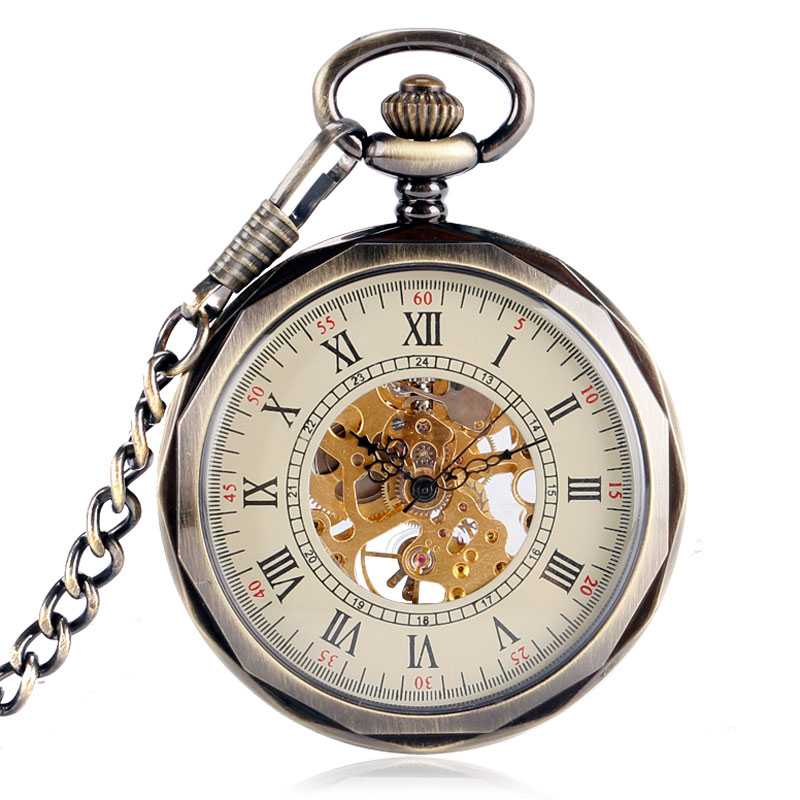 Retro Bronze Carving Open Face Pocket Watch Steampunk Mechanical Hand-winding Women Men Gift For Christmas Fob Time P2037C