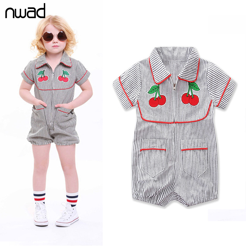 Summer Infant Girl Cherry Rompers Striped Short Sleeve Toddler Jumpsuit Baby Girls Turn Down Collar Rompers Kids Clothes FF365 cotton baby rompers infant toddler jumpsuit lace collar short sleeve baby girl clothing newborn bebe overall clothes