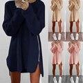 Европа Новая Мода Полный Рукав Осень Платье Женщины Свободные Боковой Молнии Шею Платья Повседневная Нерегулярные Свадебные Платья Плюс Размер S-XL